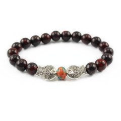 BAA1707 Popular stone breciated jasper beads bracelet with double fish charm,gemstone elastic animal bracelet