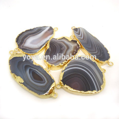 JF8355 Newest style gold electroplated botswana agate connector for bracelets