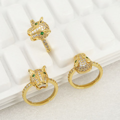 RM1115 Chic Dainty Gold Plated CZ Micro Pave Leopard Head Rings for Women Ladies,Diamond Panther Animale Finger Rings