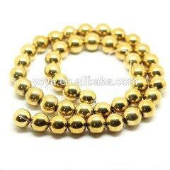 HB3015 Gold Hematite Gemstone Round Beads