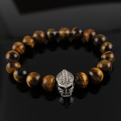 BRD0935 fashion tiger eye beaded golden helmet Gladiator Mask bracelet