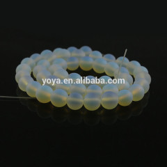 OB0838 Wholesale Matte Round Synthetic Opal Beads