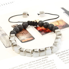 BG1089 2020 Chic Handmade Crystal Square Box Beads with Black Lava Essential Oil Friendship Bracelet