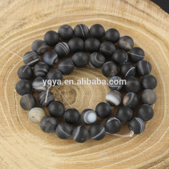 AB0157-2 Natural Matte Black Striped Agate Beads