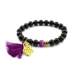 BN1030C fashion agate tassel bracelet palm charm gemstone elastic women bracelet