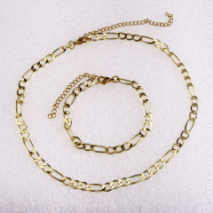 S11052 Chic 18K Gold Plated Figaro Chain Necklace and Bracelet,Fashion Jewelry Sets for Women Ladies