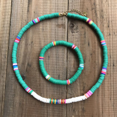 S11044 Chic Polymer Clay Heishi Beaded Surfer Necklace and Bracelet Jewelry Set