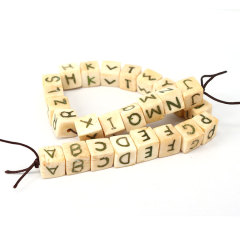 OB007 12mm English Letters Alphabet Dice Pattern White Cube Natural bone Beads