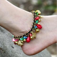 AS1008 Vintage Handmade Stone Chip Beaded Macrame Anklets for Women, Gypsy Style Boho Bohemian Anklet for Girls