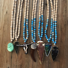 NN1018 Fashion Long Wood and Imperial Jasper Beaded Necklace With Druzy Arrowhead Pendant