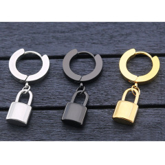 ES1048 High Quality Unisex Gold Plated 316L Surgical Stainless Steel Lock Charm Hoop Huggie Earrings for Women Men