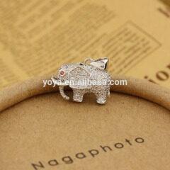 CZ6520 Lovely CZ pave antique brass elephant