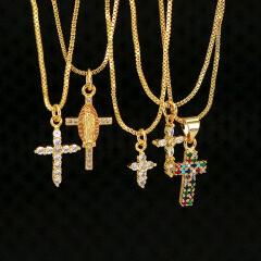 NZ1118 custom gold diamond cross chain brass pendant women necklace