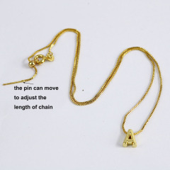 NM1037 Gold Plated Stainless Steel Hexagonal Capital Letter Initial Medal Pendant Chain Necklace
