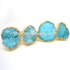 RG1068 Wholesale Gold Plated Blue Natural Druzy Ring,Unisex Jewelry