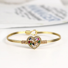 BA1027 Fashion Bangle Gold plated Diamond CZ Micro Pave heart women Bangles Jewelry