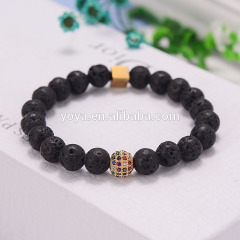 BN2014 charm gemstone essential oil elastic bracelet colorful micro CZ bead lava hematite stretch bracelet for women