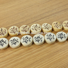 OB009 Wholesale Hand Carved Bird eye picture chess Bone round beads