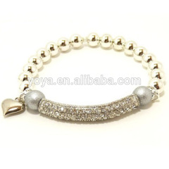 BRB1048 New Fashion Pave Crystal Bar Bracelet ,Heart Charm bracelet