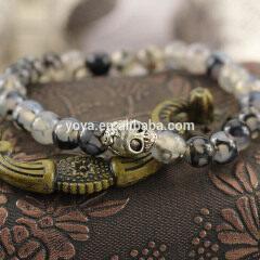 BR0131 Fashion Black Dragon Vein Agate Beaded SKull Head Men's Bracelet