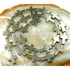PB1093 DIY jewelry findings pyrite cross beads for bracelet