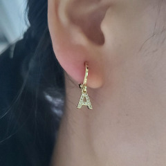EC1619 Mini Gold Plated Cubic Zirconia CZ Micro Pave Initial Letter Huggie Earring, Diamond Letter Alphabet Huggies