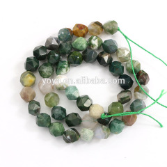 AB0686n New Star Geometric Cut Faceted Indian Agate Nugget Beads
