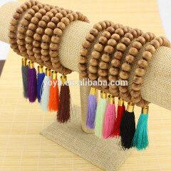 BRH0932 Wholesale hot sale wooden beaded silk tassel bracelet,wood beads bracelet with gold tassel charm