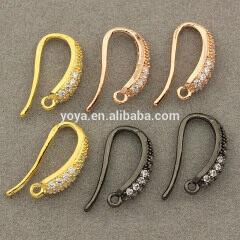 CZ6769 Zircon CZ Micro Pave Earring Hooks,Cubic Zirconia Ear Wires, Earring Findings,