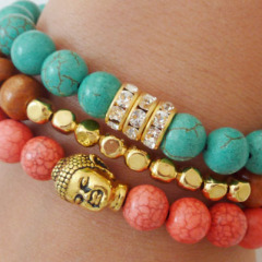 BR0002 Costume Jewelry bracelet, assorted bead bracelet,Gemstone Beads Elastic Buddha Bracelet