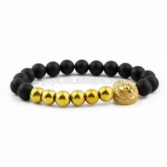 BN3014 Fashion natural stone bead gold lion head bracelet for men