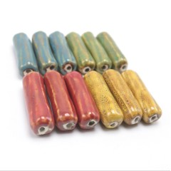CC1841 Fashion Long Ceramic Cylinder Beads,Large Porcelain Column Focal Beads for Prayer Necklace Making