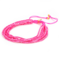 BG1013 Dainty Gold MGB Seed Tube Beads Multi Layered Friendship Adjustable Bracelet