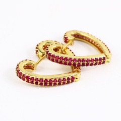 EC1634 2020 Womans Fashion Gold Plated Diamond CZ Micro Pave Heart Charm Huggie Earrings