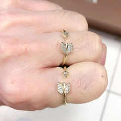 RM1143 Chic Bling Crystal Arrowhead Finger Rings for ladies,Diamond Zircon CZ Micro Paved Arrow Rings for  women
