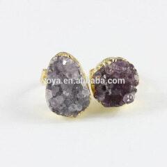 RG1054 Fashion Gold Plated Purple Amethyst Druzy Ring