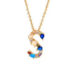 Brass 18k Gold Plated Jewelry A M 26 Rainbow Color Zircon Diamond Initial Letter Pendant Necklace Carta Joyas Collar