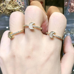 RM1122 Chic Bling Crystal Moon Finger Rings for ladies,Diamond Zircon CZ Micro Paved Crescent Rings for  women