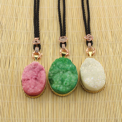 NE0513 Fashion Gold Plated Natural Crystal Quartz Druzy Pendant Necklace With Black Cord Chain