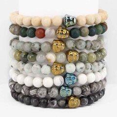BN5182 Wholesale fashion jewelry gemstone beads bracelet with buddha head