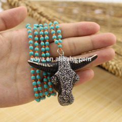 4mm turquoise beads knotted necklace,oxhead pendant necklace
