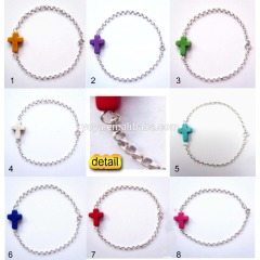 BR0054 Multicolor Stone Cross Chain Bracelet,Sideways Stone Cross Bracelet