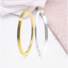 RS1001 Dainty Tiny Minimalist 1mm Stainless Steel Women's Plain Band Stacking Midi Rings Comfort Fit Wedding Band Ring