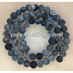 AB0100 Black frosted onyx beads,black weathered matte onyx beads,natural dragons vein agate beads