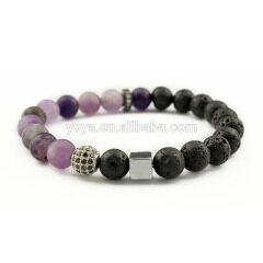 BN2003G charm matte purple crystal lava hematite gemstone elastic bracelet essential oil cz paved bead bracelet