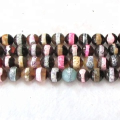 AB0244 6mm 8mm 10mm 12mm Colorful Faceted dzi Zebra Tibetan Agate beads