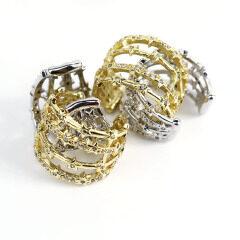 EC1661 fashion gold&white cubic zircon cuff copper women clips earrings brass with CZ clips on earring