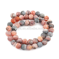 AB0235 Fancy frosted matte agate beads,dream fire agate beads