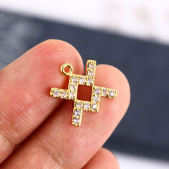 CZ7987 High quality Mini CZ Micro Pave horoscope charm,tiny zodiac astrology charm pendant for birthday gift