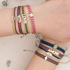 BC3001 Chic Retro Bohemian Rainbow handmade Embroidery friendship bracelets with CZ Micro Pave Eye Cactus Words Charm